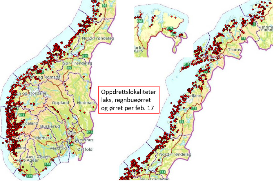 oppdrettsanlegg kart Oppdrettsanlegg I Norge Kart | Kart